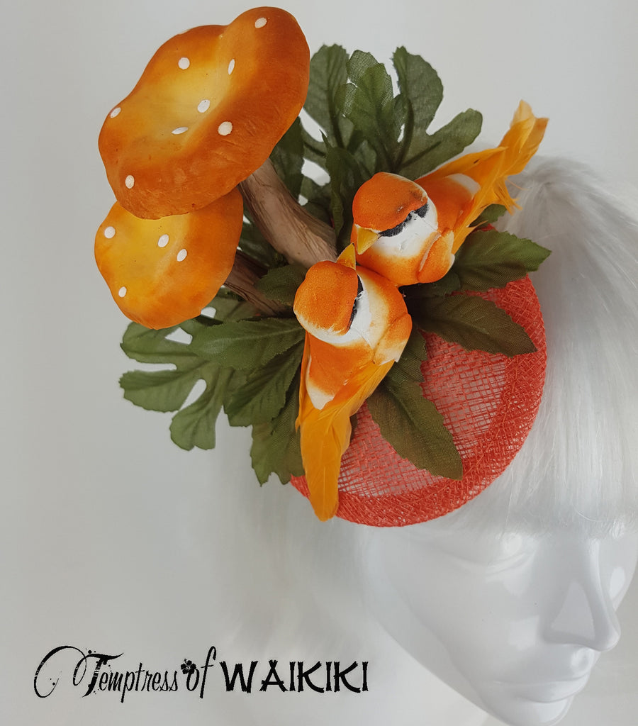 Orange Mushroom & Bird Fascinator UK