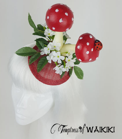 Red Mushroom & Ladybird Fascinator, wedding hats UK