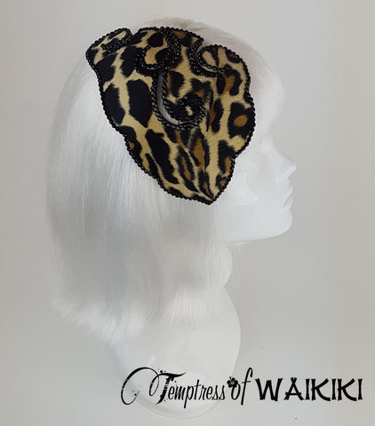 Leopard Print Vintage inspired Headpiece, rockabilly headpieces UK