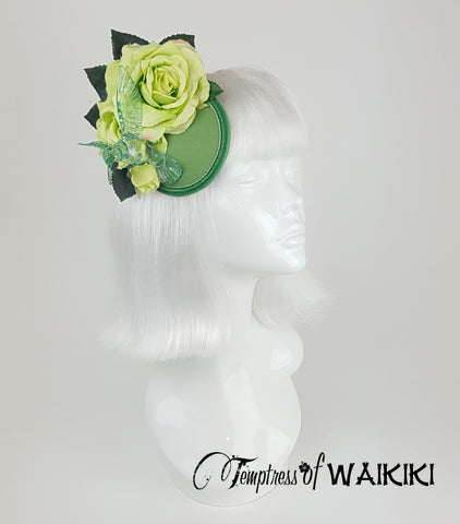 Lime green rose hummingbird fascinator