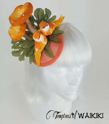Orange Mushroom & Bird Fascinator, royal ascot hats UK