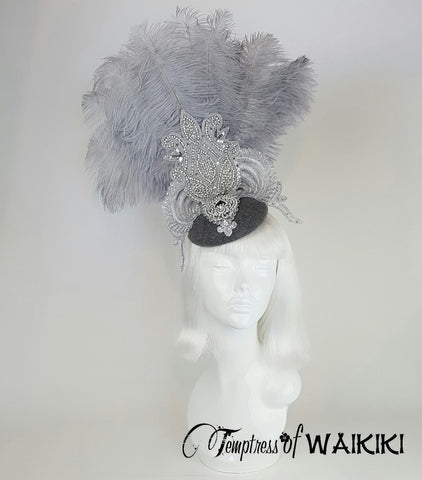 "Grey & Silver Lace Feather Fascinator ""Silvery Moon"""
