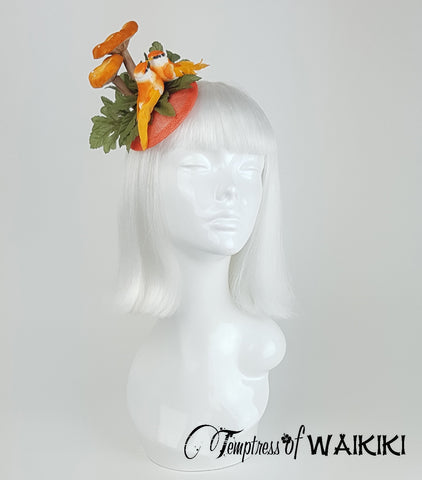 Orange Mushroom & Bird Fascinator, wedding hats UK