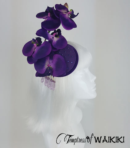 Purple Orchid Fascinator, Hats for sale UK