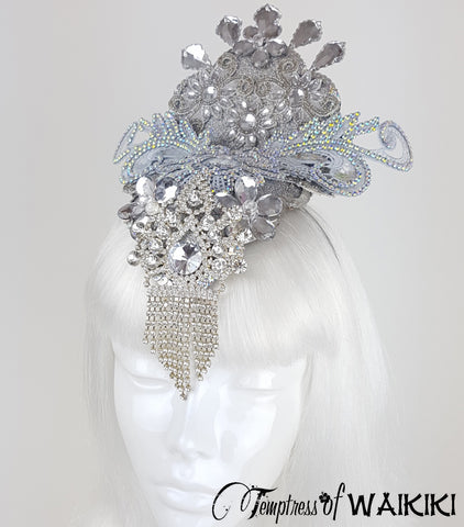 Opulent Silver Crystal Showgirl Headpiece UK
