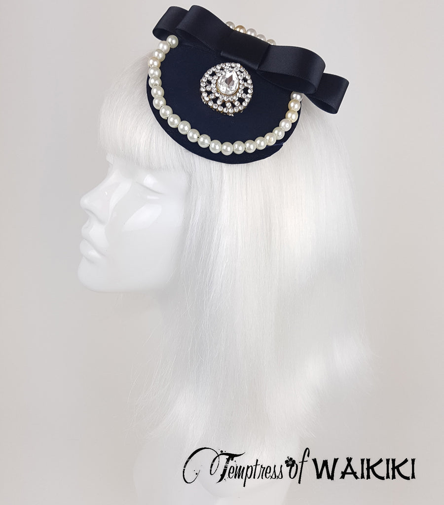 Black & Pearls Bejewelled Fascinator. wedding hair accessories UK