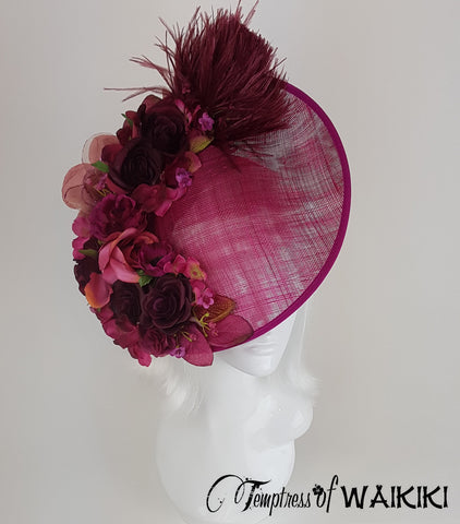 Pink Flower Royal Ascot Hat, Ladies Day UK millinery
