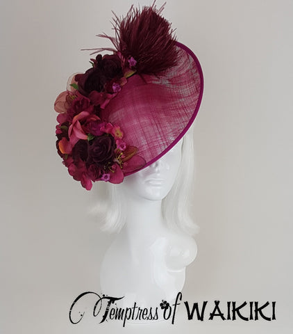 Pink Flower Royal Ascot Hat, bespoke British millinery