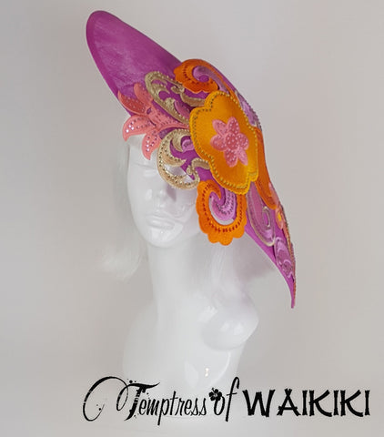 Pink & Orange Ladies Hat, unique millinery UK