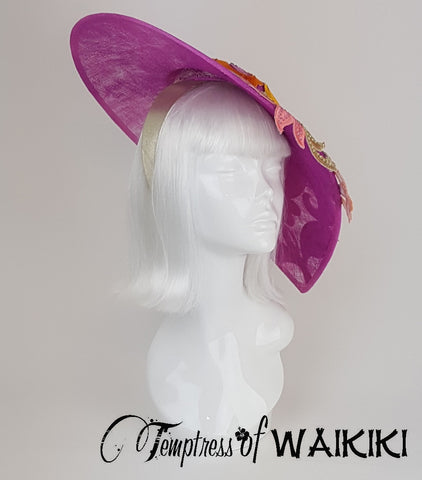 Pink & Orange Ladies Hat, unique headpieces UK