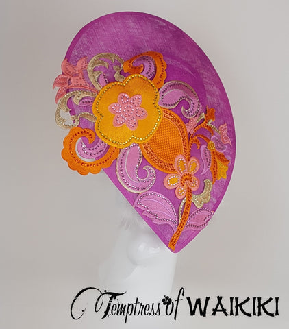 Pink & Orange Ladies Hat, british millinery uk