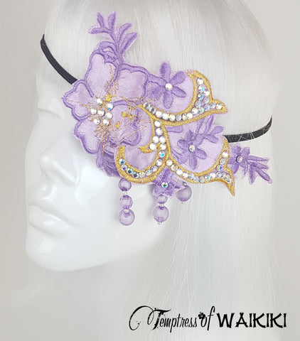 Purple Lace Crystal Eye Patch