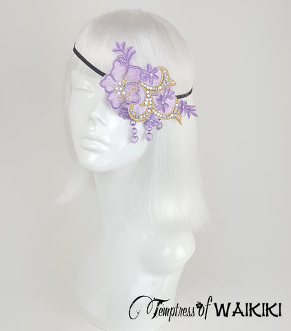 Purple Lace Crystal Eyepatch