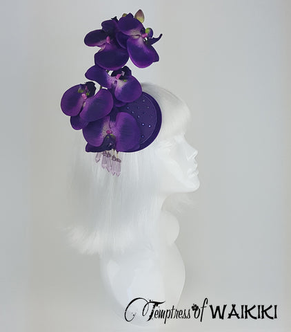 Purple Orchid Fascinator, ladies hats for sale UK