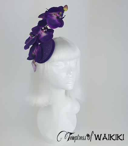 Purple Orchid Fascinator, Royal Ascot hats for sale