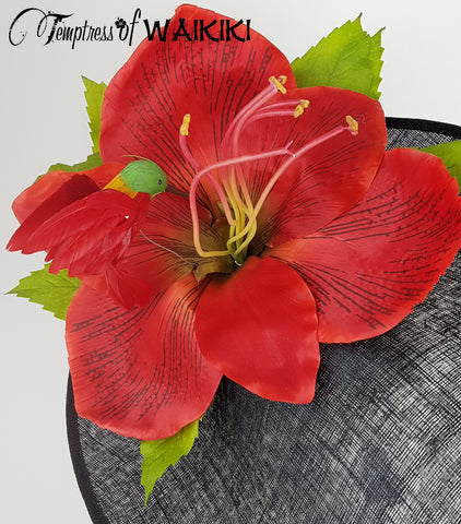 Giant Red Flower Black Royal Ascot Hat, Wedding hat