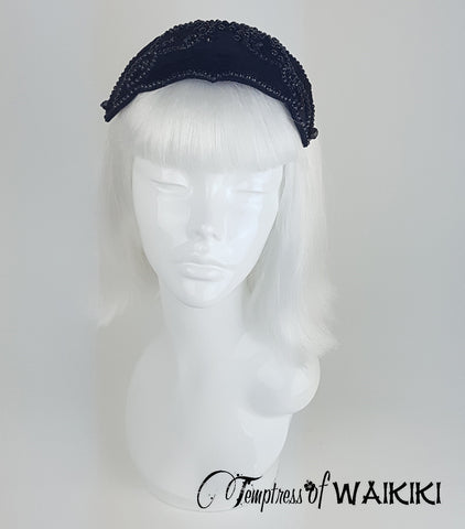Black Velvet Vintage Headpiece, unique hats for sale UK