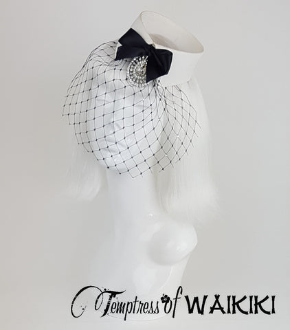 Vintage Collar Birdcage Hat, veil millinery uk