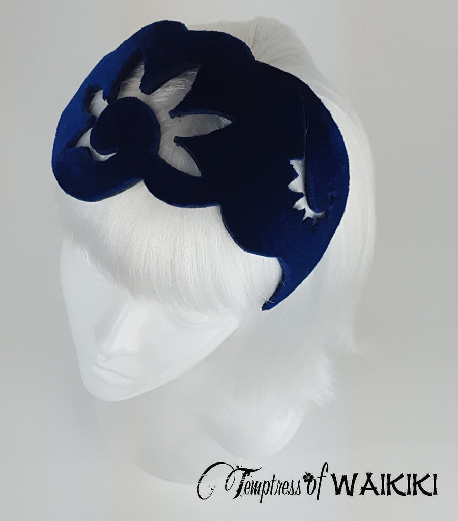 Blue Velvet Vintage Headpiece, millinery UK