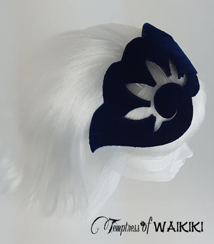 Blue Velvet Vintage Headpiece, royal ascot hats