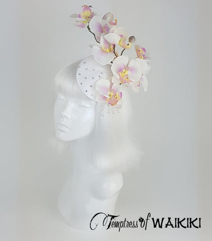 unique White Orchid Fascinator, rock & Roll bridal hair accessory