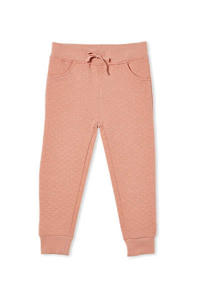 Quilted Track Pants in Blush