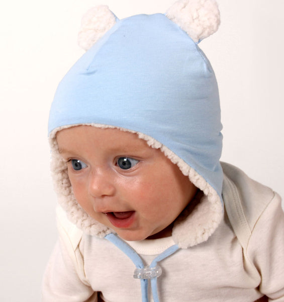 Teddy Fleecy Winter Beanie in Baby Blue Marle