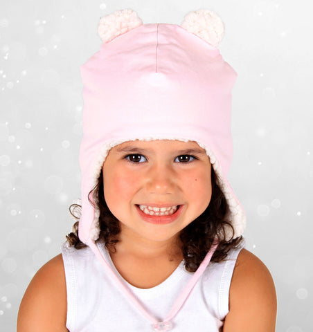 Teddy Fleecy Beanie in Baby Pink Marle