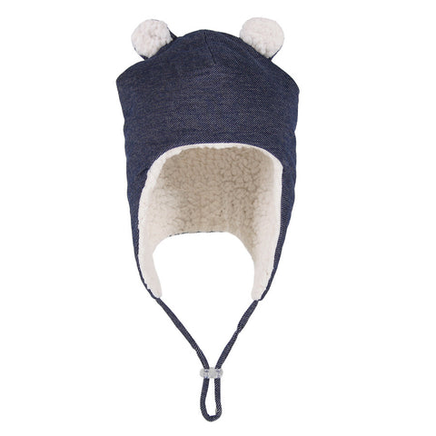 Teddy Fleecy Winter Beanie in Denim