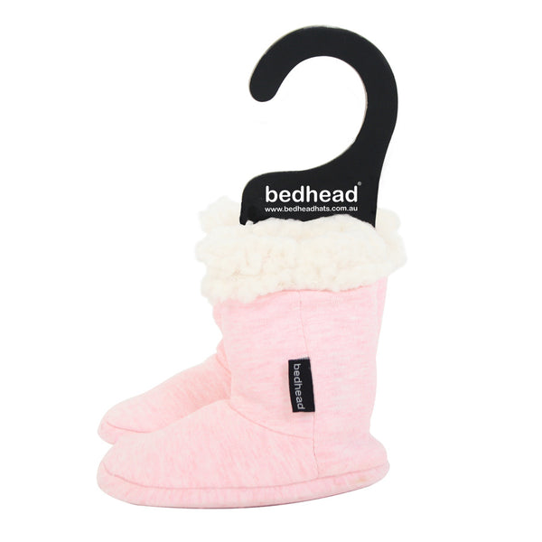 Fleecy Winter Booties in Baby Pink Marle - Lucky Last! (Size 0-6m)