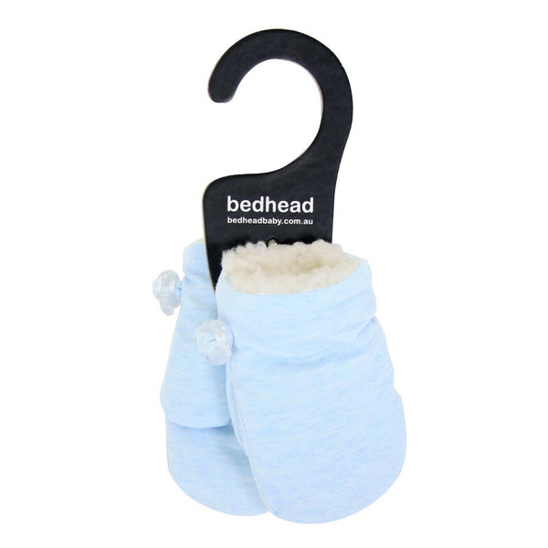 Winter Fleecy Infant Mittens in Baby Blue Marle