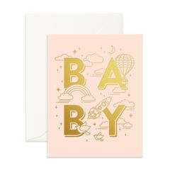 Baby Universe Greeting Card in Pale Pink & Gold Foil