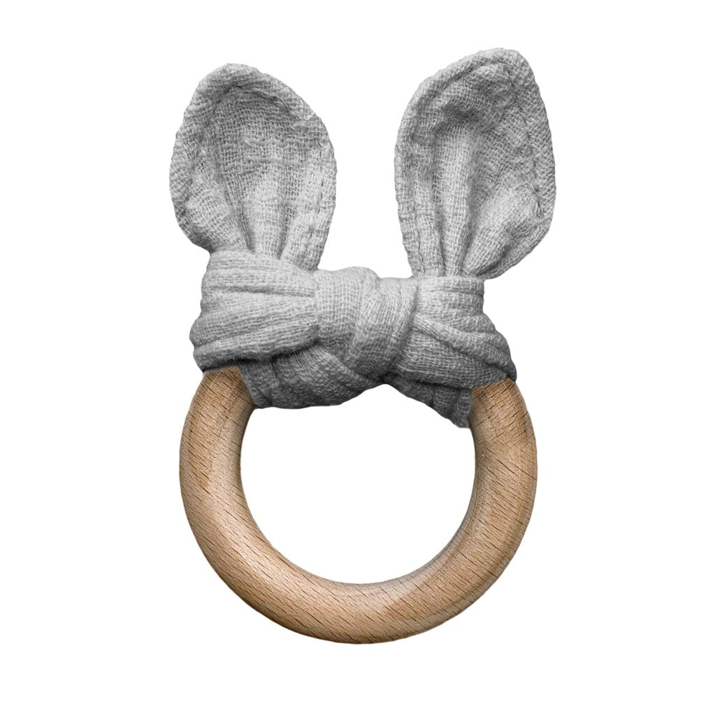 Grey the Bunny Teething Ring - Lucky Last!