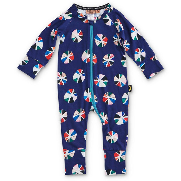 Pin Wheel Navy Organic Zip Romper