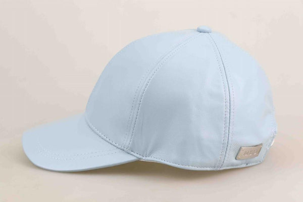 Baby Blue Luxe Leather Baseball Cap