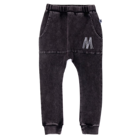 Blasted Pouch Trackies in Black Acid Wash