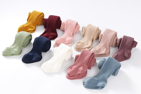 Classic Cotton Ribbed Tights in Mustard, Navy, Pink, Sage & Rose