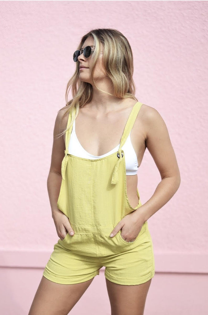 Emily Tie Overalls in Yellow