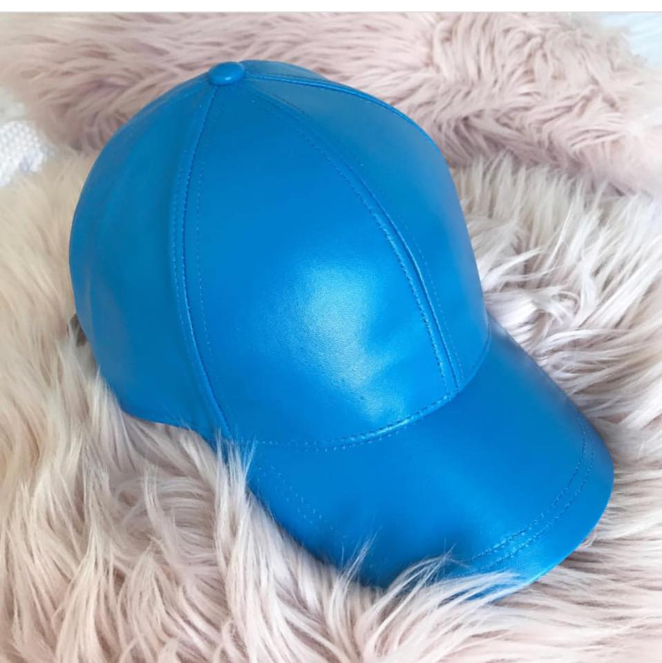 Ocean Blue Luxe Leather Baseball Cap