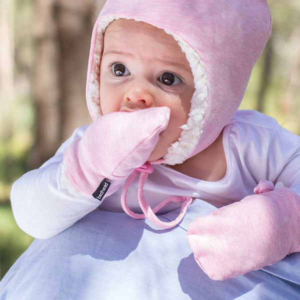 Fleecy Infant Mittens in Baby Pink Marle