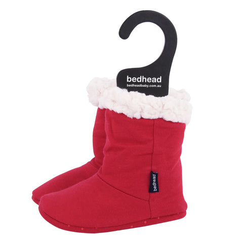 Fleecy Winter Booties in Red - Lucky Last! (0-6m)