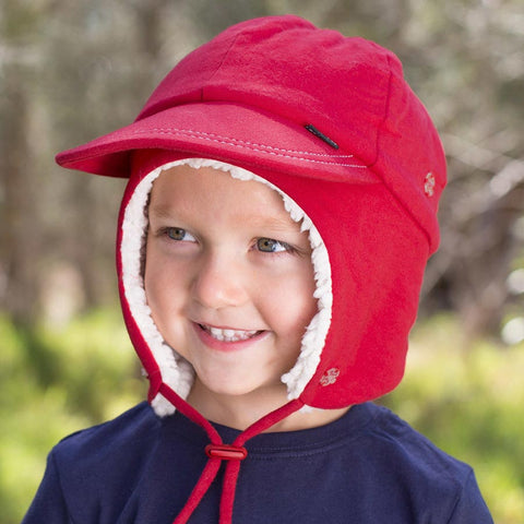 Red Fleecy Legionnaire Winter Hat with Strap