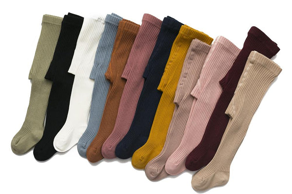 Classic Cotton Ribbed Tights in Chestnut, Mustard, Navy, Sapphire, Sage & Rose