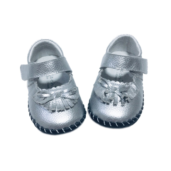 Little Chic Tassel Mary Janes in Silver