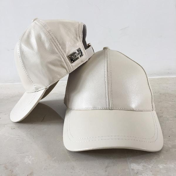 Cream Luxe Leather Baseball Cap - Lucky Last! (Approx 5y-Adult)