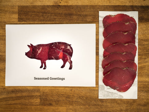 """Seasoned Greetings"" Bresaola Christmas Card"