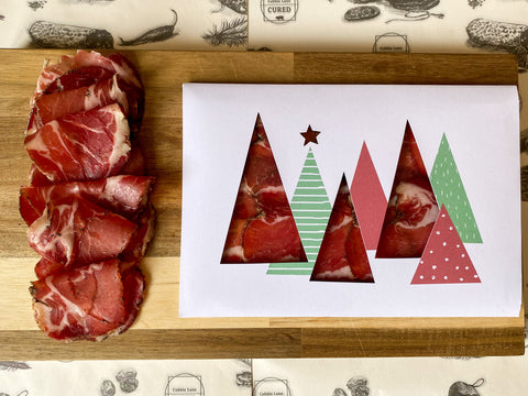"Christmas ""Meat"" Card - Christmas trees"