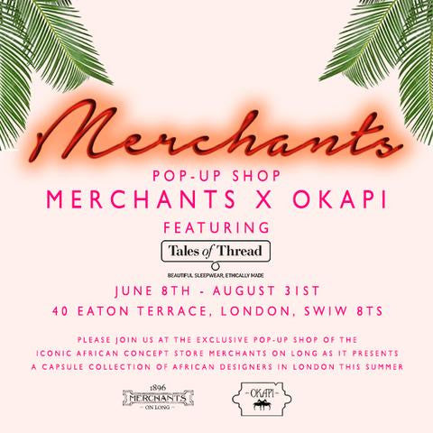 Tales of Thread pyjamas are featured in the Merchants X Okapi Pop-up Shop