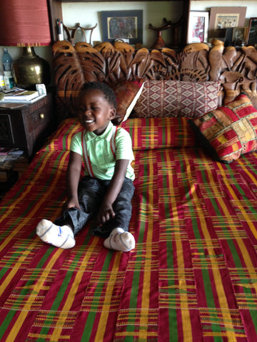 Kente bed cloth with Clinton The African Heritage House, Nairobi