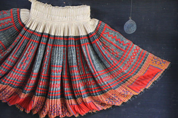 Indigo hemp embroidered skirt, Ok Pop Tok collection, Luang Prabang, Laos
